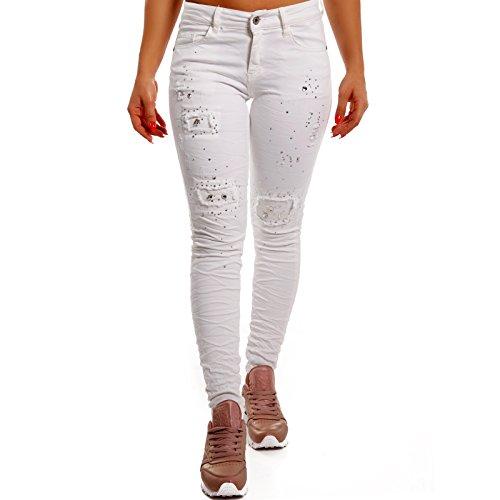 Damen Skinny Strass Jeans Slim-Fit Regular Waist Destroyed , Farbe:Weiß, Größe:36/S (Strass-pocket-jeans)