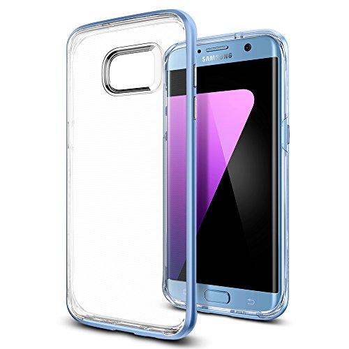 Samsung Galaxy S7 Edge Hülle, Spigen® [Neo Hybrid Crystal] Dual-Layer Schutzrahmen [Satin Silber] Metallisierte tasten / Durchsichtige TPU Schale + PC Farbenrahmen Schutzhülle für Samsung Galaxy S7 Ed NHC Blue Coral