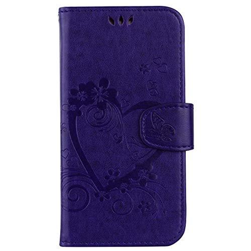 Galaxy J7 2017 Hülle, The Grafu® PU Leder Hülle mit Magnet Verschluss, Standfunktion und Kartenfach, Leder Tasche kompatibel mit Samsung Galaxy J7 2017, Violett