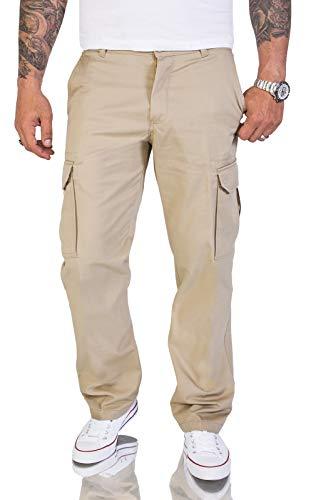 Rock Creek Herren Cargo Hose Chinohose Seitentaschen Outdoor Stoffhose Cargohose Chinos Outdoor Hosen für Männer Kargohosen H-194 Beige W40