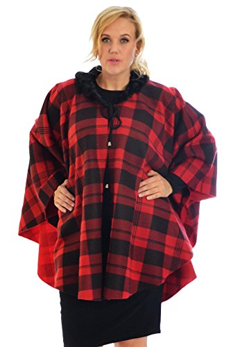Tartan Cape Jacket Red One Size (Faux Pelz Cape Men)