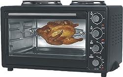 Elektrischer Backofen mit Kochplatten, Kapazität 30 Liter, 4 Stufen Wärmeeinstellungen, Maße: 53,5*38,5*34 cm