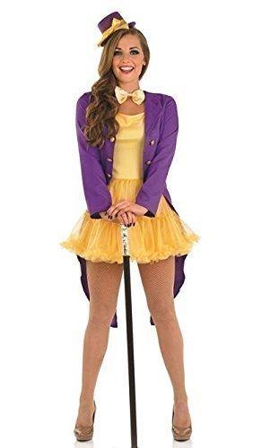 Damen 4 Stück Sexy Willy Wonka Zirkusdirektor Circus Carnival Halloween Kostüm Kleid Outfit 8-22 Übergröße - Lila, (Wonka Outfit Willy)