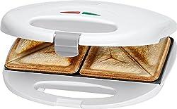 Clatronic ST 3477 Sandwichtoaster, 3-eckige Sandwichplatten, automatischer Temperaturregler, mit 2 Kontrollleuchten, Antihaftbeschichtung, Überhitzungsschutz, weiß