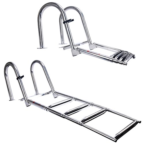 Amarine-made Premium Stainless Folding Rear Entry Pontoon Boat Ladder w/ Extra Wide Step Test