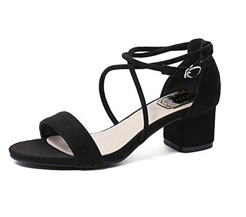 Bequem mit Syntetische Sandalen Schnallen und Schwarz Elegant Niedrige Absatz aWq7BSff