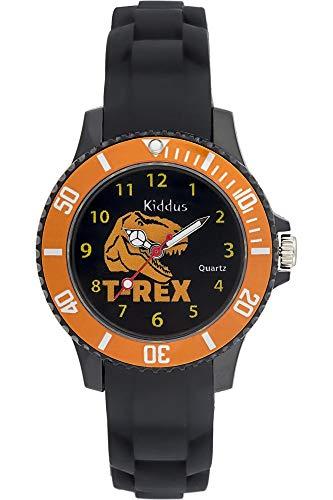 Kiddus Kinder Jungen Uhr Analog Japanischer Quarz Silikon Armband Wasserdicht KI10121 Dinosaurier