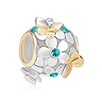 Uniqueen Jewellery 925 Sterling Silver New Style Butterfly Flower Charms Beads with Crystal Bead Fit Bracelet (December Birthstone)