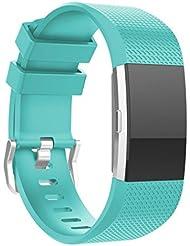 Para Fitbit Charge 2, DoraMe Nueva correa de los deportes del silicón de la manera (Verde)