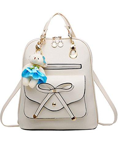 Menschwear PU Zaino Satchel Daypack sacchetto di scuola Blu Bianco