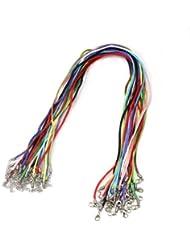 25X Color Mixto Cordón Cuerda Algodón con Cierre Mosquetón DIY Collar Artesanía