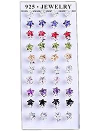Smile YKK 20 paires Femme Clous d'oreilles Cristal en Forme Etoile Plaqué Argent 925 Oxyde de Zirconium