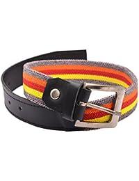 CrayonFlakes Children's Belt Multicolor Stretchable Canvas & Black PU Leather