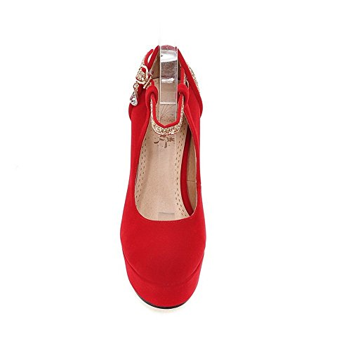 Adee Femme Plateforme Confort polyuréthane Pompes Chaussures Rouge - rouge