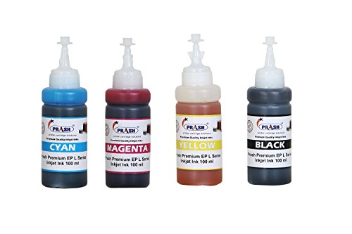 Prash Ink Refill Kit For Epson 73N Refillable Ink Cartridges For Use In T13 / T121 / TX200 / TX300F/ L100/L110/L200/L210/L220/L300/L350/L355/L365/L550 (COMPATIBLE) Printers Multi Color Ink (Black, Cyan, Magenta, Yellow) (100 ML Each Bottle)  available at amazon for Rs.475