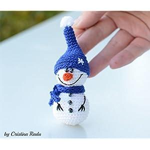 Amigurumi Schneemann, Häkelarbeit Weihnachtsbaum, Büro Deko, cooles Winter Urlaub Geschenk