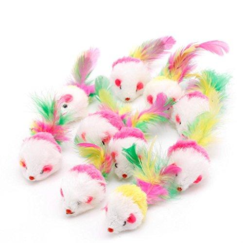 Jiamins 10 Set Maus, Katzenspielzeug, bunt, lustig, Maus, Schwanz, Katzen, Katzenspielzeug