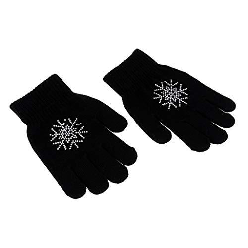 perfk Magic Stretch Sporthandschuhe Winterhandschuhe Eislaufen Handschuhe Laufhandschuhe in verschiedenen Farben - Schwarze Blume M