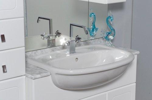Mobile Arredo Bagno Cleo cm 70+30 con lavabo semincasso bianco ...