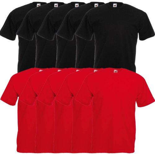 Fruit of the Loom Original Valueweight T Rundhals T-Shirt F140 5er 10er 15er 20er Pack 5x black 5x red