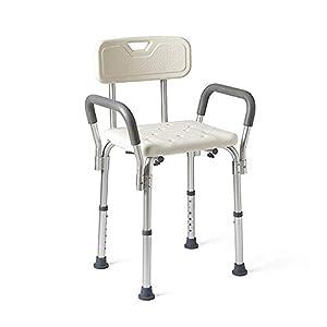 RBH Taburetes de baño, sillas de Ducha Antideslizantes, con apoyabrazos y Respaldo engrosados, admiten hasta 350 LB…