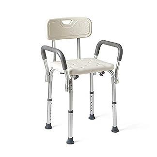 RBH Taburetes de baño, sillas de Ducha Antideslizantes, con apoyabrazos y Respaldo engrosados, admiten hasta 350 LB, aptas para discapacitados, Ancianos, Embarazadas y obesas