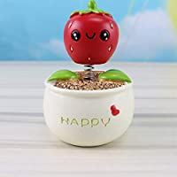 AZXC Figurine Strawberry Flower Pot Shaking Head Car Posing Creative Home Car Decoration Crafts Gifts(9 * 6cm),Red