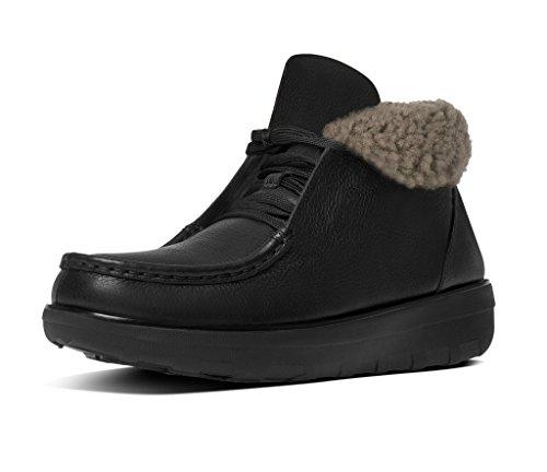 FitFlop Loaff Lacets Bottines Peau De Mouton Noir All Black