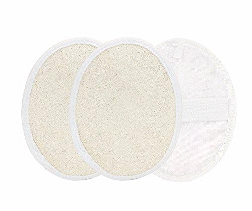 3 x SmartProduct Luffaschwamm Pad, Handschuh für Körper und Gesichtspeeling in Bad und Dusche