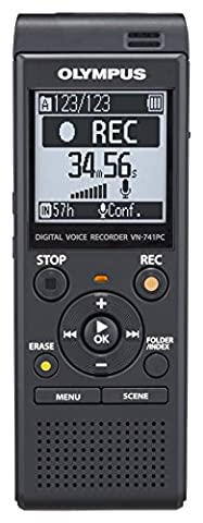 Olympus VN-741PC MP3 Digital Voice Recorder with 4 GB Flash Memory and Built-In USB - Black