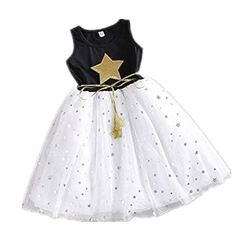 Mädchen Sommer Prinzessin Kleid Sterne Garn Rock Ärmellos (Etikettengröße 120) (Kühle Superheld Kostüme)