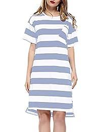 04d515188 Vestido De Noche De Camisón para Mujer Casuales Mujeres Camisa A Rayas  Vestido De Maternidad hasta