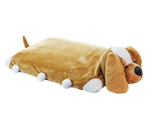 Pillow Pet - Puppy Dog 100% Natural Latex Pillow with Case – Foldable Pillow Toy for Kids Soft, Comfy & Fun –Animal Shaped Sleeping Pillow Doll Toy Gifts for Nursery Students, Children, Baby