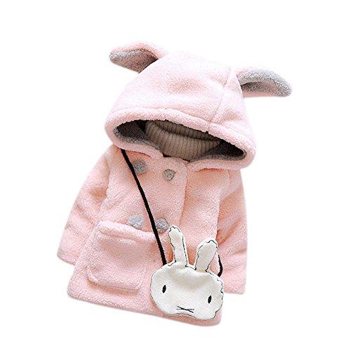 FEITONG Säuglings baby Winter warmer Pelz mit Kapuze Mantel Jacke starke warme Kleidung (9M, Rosa) (Phat Baby-mädchen Baby)