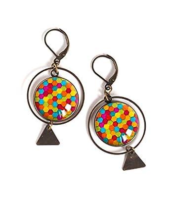 Boucles d'oreilles cabochon, Multicouleur, colorée, patchwork de couleur