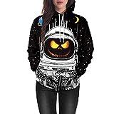 Damen Paar Halloween 3D-Druck Hoodie Sweatshirt Rosennie Scary Halloween Geist Partei Kapuzenpullover Lange Ärmel Top Kapuze Kapuzenpulli Top Hoodies Langarm Bluse Pulli Sweats (Schwarz,2XL)