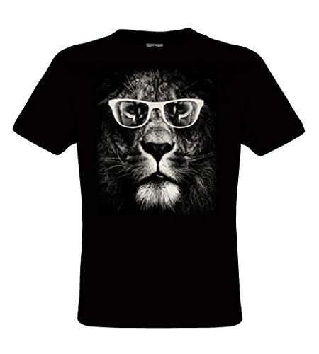DarkArt-Designs Lion Glasses - Löwen T-Shirt für Herren - Tiermotiv Shirt Fun Lifestyle regular fit Black