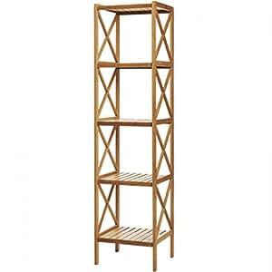 MSV 140625 Etagère avec 5 Niveaux Bambou/Laqué Nitrocellulose 36,5 x 33 x 153 cm