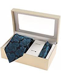 Sir Michele Designer Blue Micro Silk Tie and Pocketsquare Set for Men (Pack of 2)
