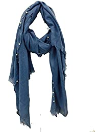 Pamper Yourself Now Denim blue with beads and pearls with frayed edge long soft scarf/wrap