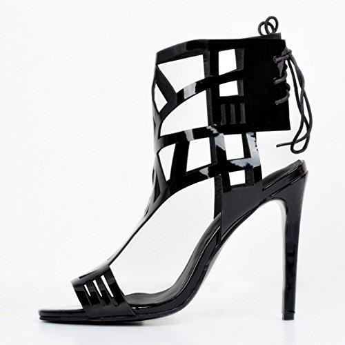 Kolnoo Femmes Handmade Style creux ouvert-orteil dentelle sexy haut talon sandales de bureau de partie chaussures de cour Black