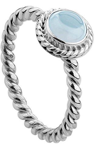 Nenalina - Damen Ring Silberring aus 925 Sterling Silber handgearbeitet besetzt mit blauem Aquamarine Edelstein, Gr. 52 - 212999-098-52 (Aquamarin Perlen Echte)