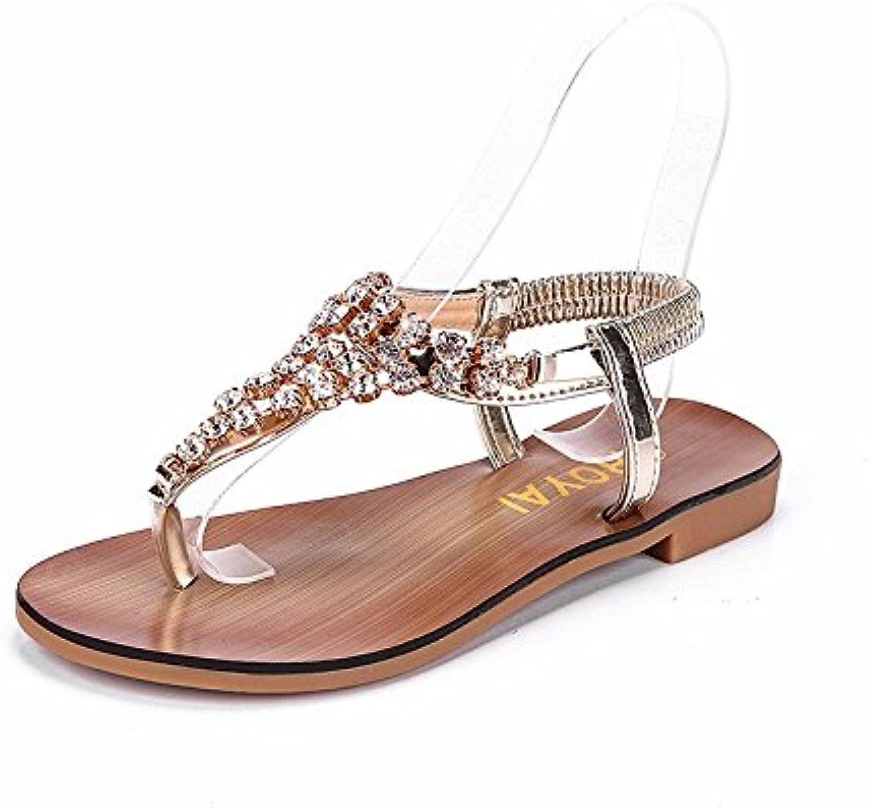 XIAOGEGE Clip-agua la perforación sandalias zapatos de mujer banda elástica chica calzado de playa,UE 37 Gold