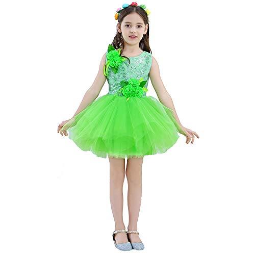 tüm - Kinderkostüme Kleines Gras Kinder Performance Kostüm Jasmine Open Tanzkleid Chunxiao Tutu Performance Kostüm (Farbe : Grün, größe : 140cm) ()