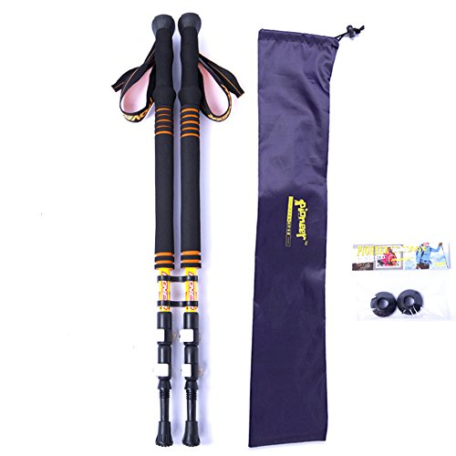 Bastoni da trekking, confezione da 2, carbonio Lock ultraleggero outdoor alpinismo bastone da sci, escursionismo/Walking/da arrampicata, con stick (Rosso, Blu, Giallo), Yellow