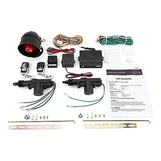 Pudincoco Universal Fahrzeug Fernbedienung Zentralverriegelung Keyless Entry System 2 Autotür Fernbedienung Zentralverriegelung Kit + Diebstahlwarngerät Tool Set (schwarz)