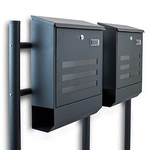 BITUXX® Freistehender Doppelstandbriefkasten Briefkastenanlage mit Zeitungsrolle Eckig und Fenster Dunkelgrau Anthrazit