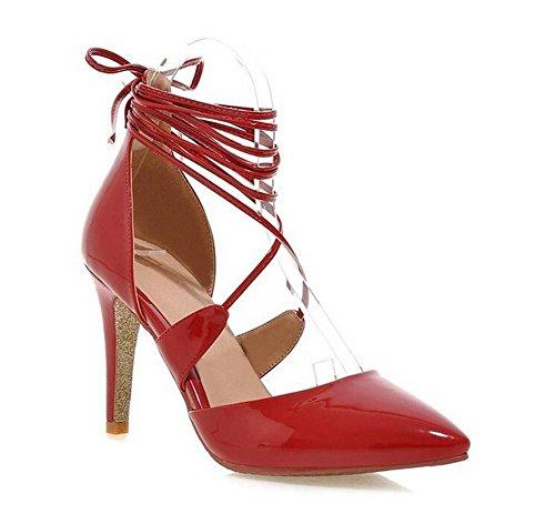 Delle donne Shallow Scarpe da tennis Bocca lacci incrociati con punta sottile e appuntito con gli alti sandali con tacco red