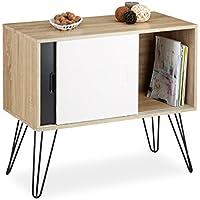 Relaxdays Commode retro design en bois et métal années 60 sideboard meuble rangement scandinave HxlxP: 70 x 80 x 40 cm, noir blanc