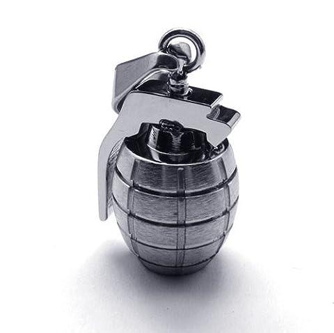 K Mega Bijoux Inox Argent Grenade Hommes Pendentif Collier